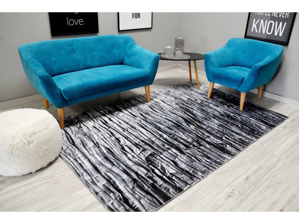 Moderní plyšový koberec NATURE 4D 160 x 230 cm - Šedá skála