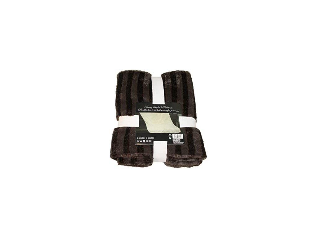 Plyšová deka DELUXE - 130 x 160 cm - hnědá