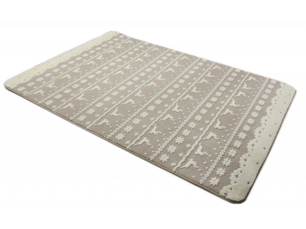 Plyšový koberec 3D 160 x 230 cm - BERGEN béžový