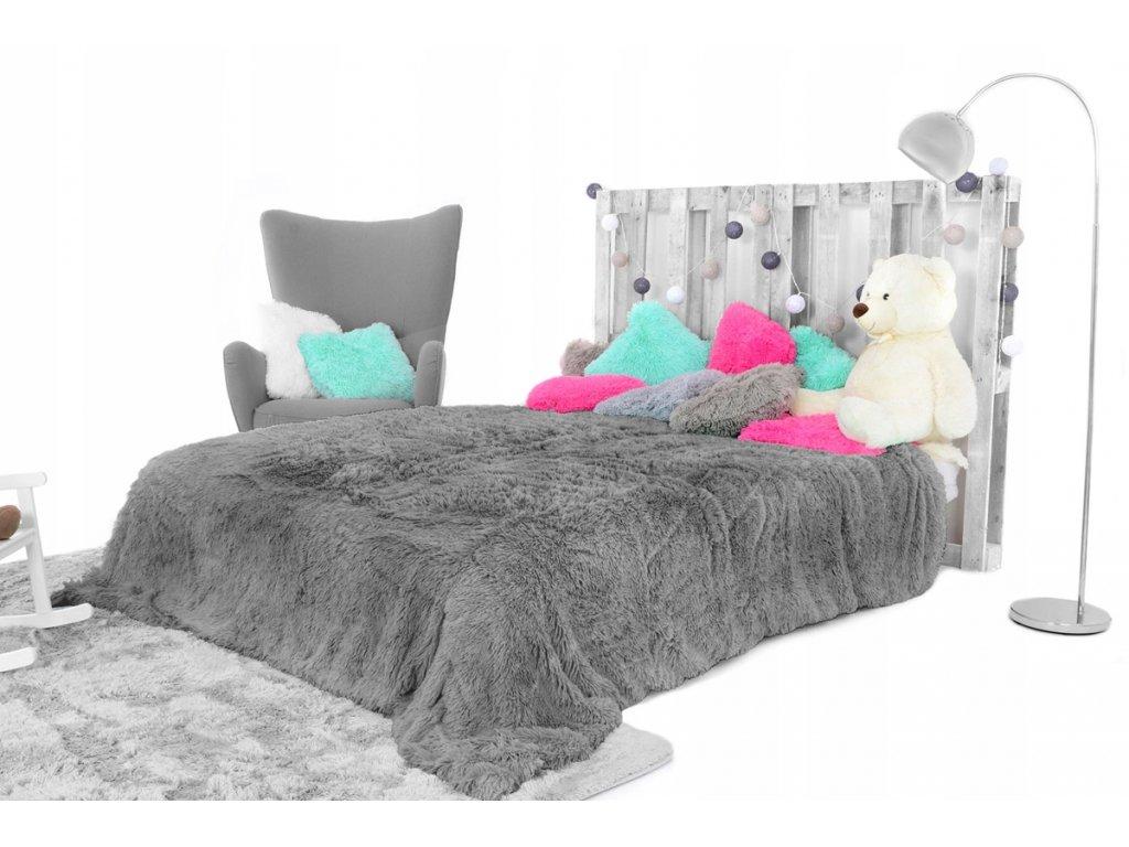 Přehoz na postel ELMO 200 x 220 cm - Tmavě šedý