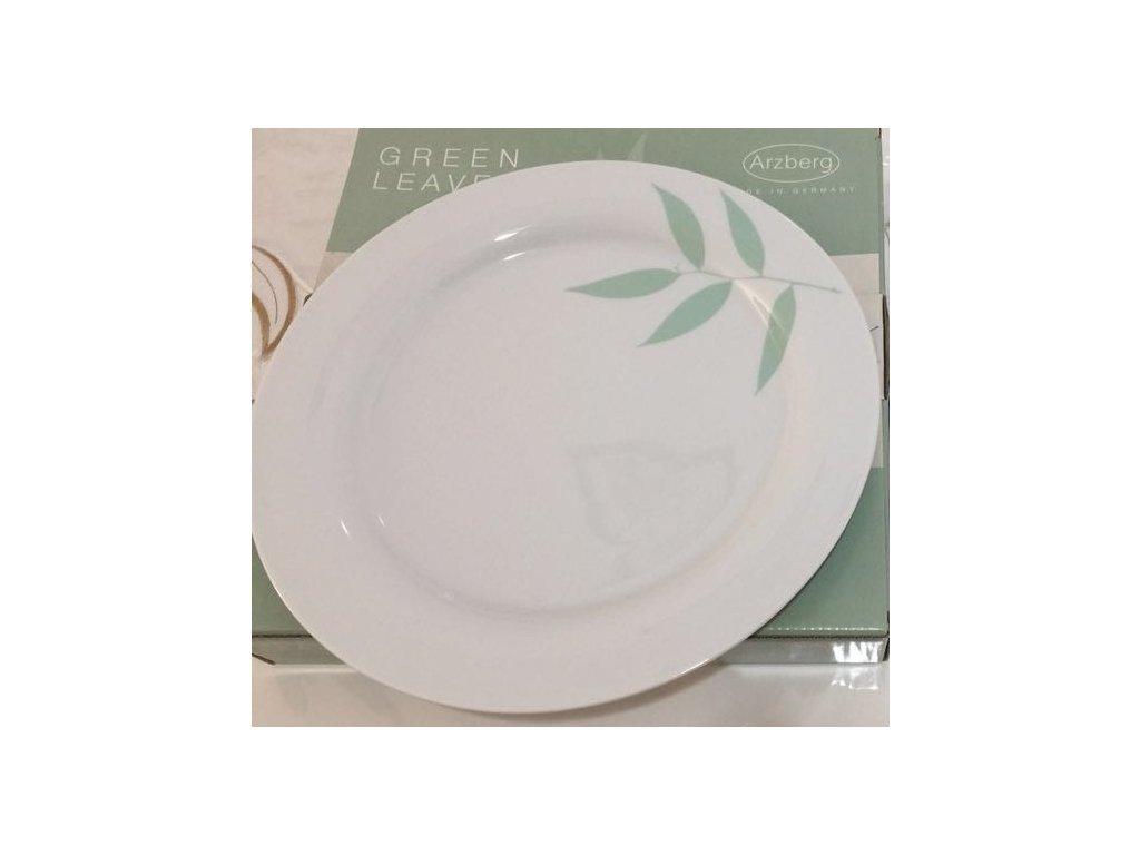 Sada 2 plytkých talířů Arzberg o průměru 28,5 cm s potiskem - zelené listy