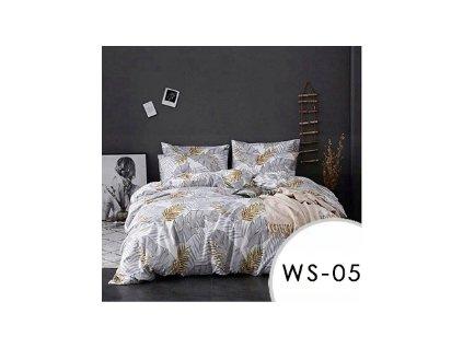 Sada 3 ks ložního povlečení EmaHome - šedé listy / 200 x 220 cm / 2x 70 x 80 cm / WS-05