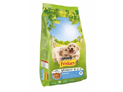 Krmivo Junior pro štěňata PURINA FRISKIES / kuře, mléko, zelenina / 15 kg / POŠKOZENÝ OBAL