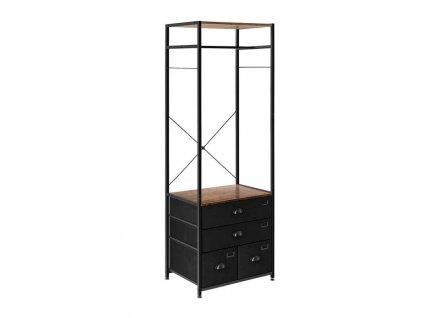 Otevřená skříň se zásuvkou 80 x 60 x 185 cm / hnědá / černá