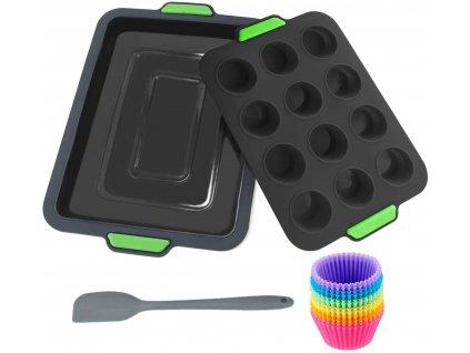 Silikonová forma Yogopro na muffiny a pečení / 12 košíčků na muffiny / silikonová stěrka