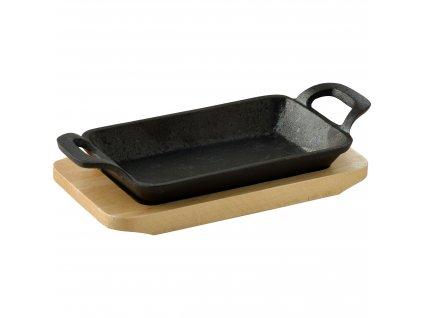 Obdelníkový litinový pekáč Masterpro / 17 x 10 x 2,5 / černá