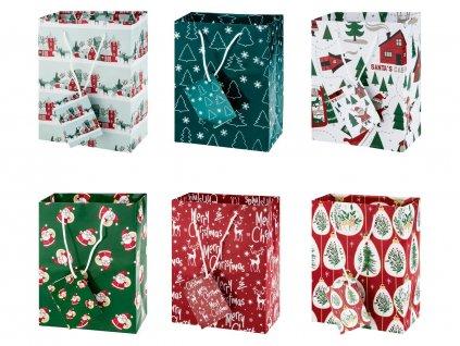 Vánoční dárková taška / 17 x 9 x 22 cm / 6 ks