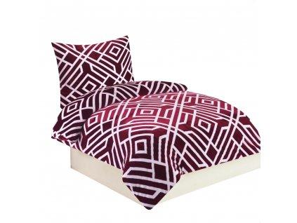 Povlečení Mikroplyš Labyrint vínový, 140 x 200 cm, 70 x 90 cm /vínová