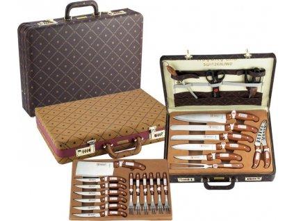 25dílná sada příborů a nožů v koženém kufříku Royalty Line RL-CK25LB