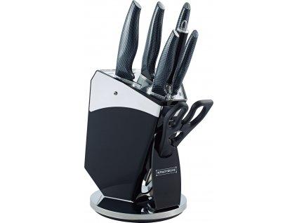 8-dílná sada ocelových nožů, nůžek, ocílky a stojanu Royalty Line RL-CB8- černá