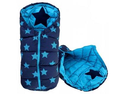 Dětský spací pytel 90 x 47 cm - Hvězdy modrý