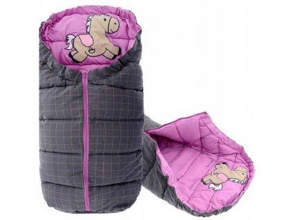 Dětský spací pytel 90 x 47 cm - kůň šedý + fialový
