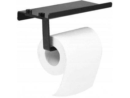 Držák toaletního papíru s poličkou HOM-00552 - Černý