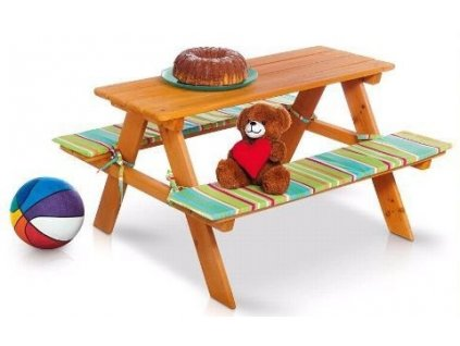 Dřevěná dětská lavice Florabest / dětská lavice se stolem / dětský zahradní set