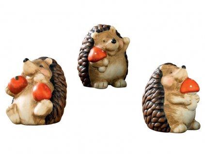 Keramická podzimní dekorace Melinera - Tři ježci