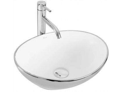 Keramické umyvadlo SOFIA - Bílá, stříbrná
