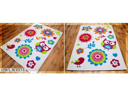 Koberec LOVELY-KIDS 165 x 235 cm - OWL WHITE