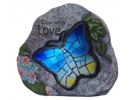 """LED solární dekorační kámen s motýlem - 21x18x8 cm """"XXL"""""""