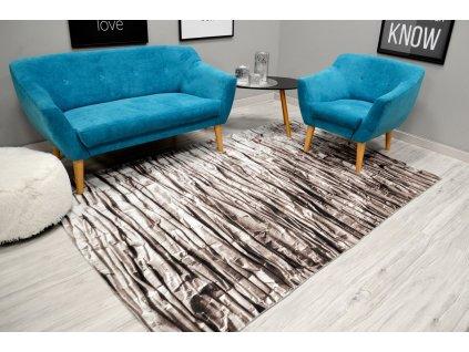 Moderní plyšový koberec NATURE 4D 160 x 230 cm - Béžová skála
