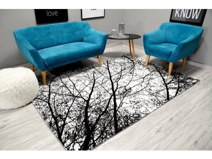 Moderní plyšový koberec NATURE 4D 200 x 300 cm - Bíločerný strom