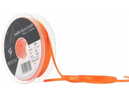 Oboustranná saténová stuha - oranžová 3 mm DÉLKA 100m