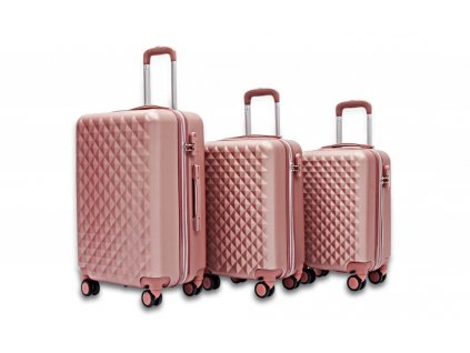 Pevný kufr na kolečkách 35 l - Růžovo zlatý