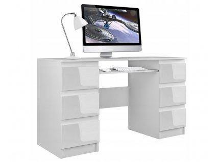 Psací/kancelářský stůl KUBA - bílý LESK