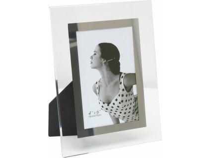 Skleněný fotorámeček ve stříbrné barvě 13x18 cm