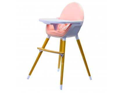 Vysoká dřevěná židle Kinderline WHC-701.1 - Růžová