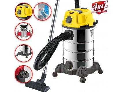 4v1 průmyslový vysavač DMS - 30l, 2300W, žlutý   mokré a suché vysávání   dmýchadlo   vysávání horkého popela   samočištění   se zásuvkou