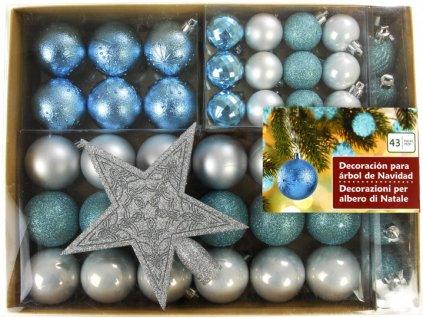 EmaHome - Vánoční ozdoby sada - modro/stříbrné + hvězda, 43 ks
