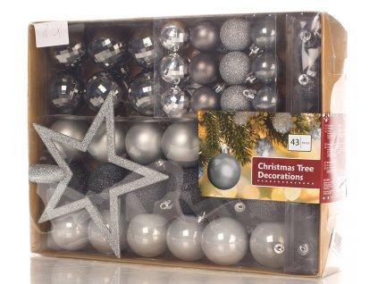 EmaHome - Vánoční ozdoby sada - černo/stříbrné + hvězda, 43 ks
