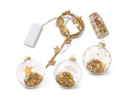 EmaHome - Dekorativní dárkový set |Vánoční ozdoby| s LED páskem /hvězdy