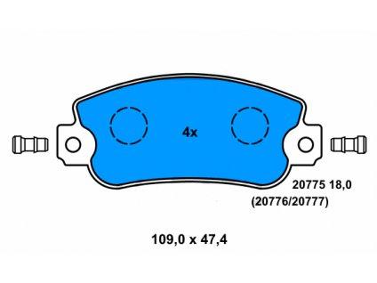 ATE sada brzdových destiček, kotoučová brzda 13.0460-3940.2