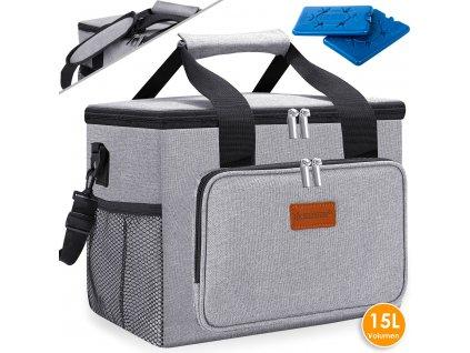 Chladicí box Kesser / piknikový košík / koš na přepravu potravin / 15l / chladicí taška / šedý