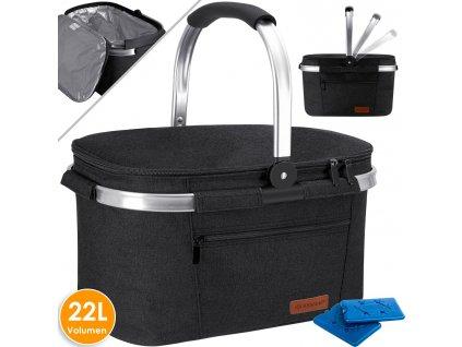 Chladicí box Kesser / piknikový košík / koš na přepravu potravin / 22l / chladicí taška / černý
