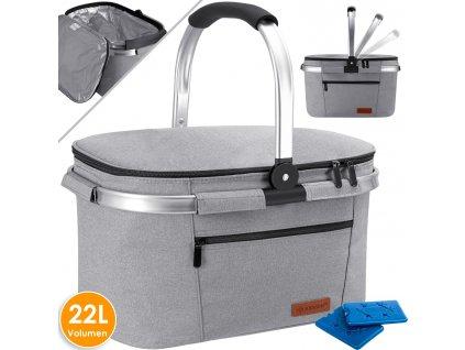 Chladicí box Kesser / piknikový košík / koš na přepravu potravin / 22l / chladicí taška / šedý