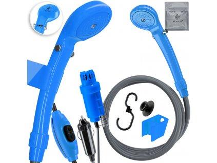 Kesser přenosná zahradní sprcha nabíjecím kabelem / zahradní hadice 2m / s akumulátorovým čerpadlem / modrá