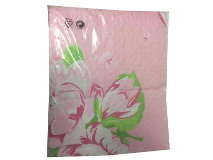 EmaHome - Přehoz prošívaný s květinami 170 x 270 cm růžová