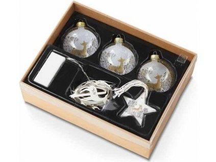 EmaHome - Dekorativní dárkový set  Vánoční ozdoby  s LED páskem