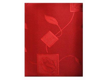 EmaHome - Ubrus kulatý s ochranou proti skvrnám 140 cm / tmavě červená se vzorem