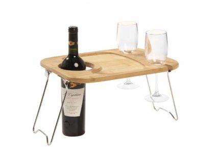 Bambusový stolek k vínu Cook Outdoor / 38x28 cm