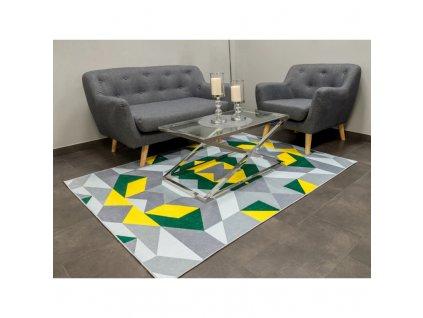 Koberec s geometrickými vzory 140 x 200 cm Zelená / Žlutá