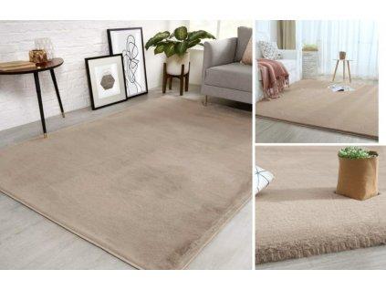 Plyšový koberec SHAGGY RABBIT 100 x 150 cm BEIGE TAUPE