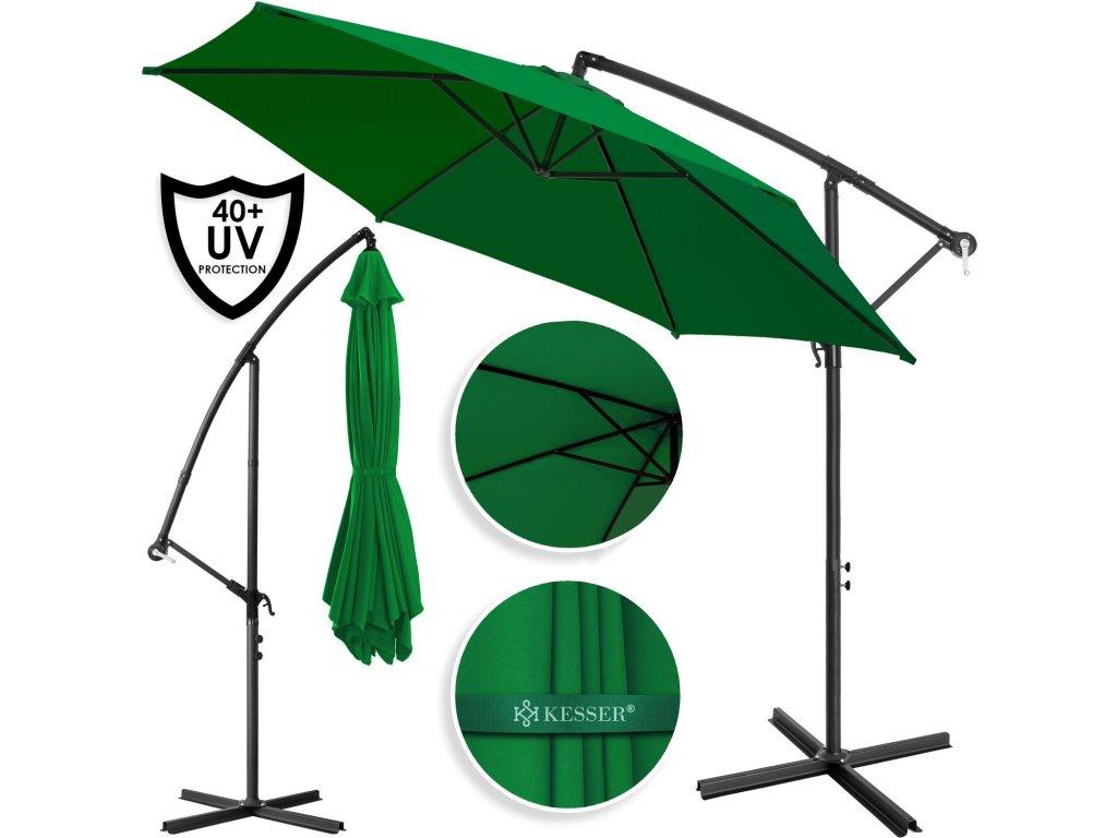 Kesser ruční deštník / zahradní deštník / klikový slunečník / 300 cm / zelený
