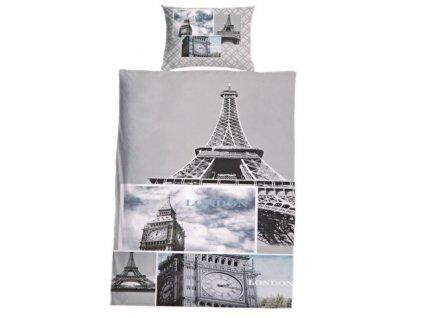 Sada ložního povlečení na dvě postele 140x200 cm - motiv Paříž