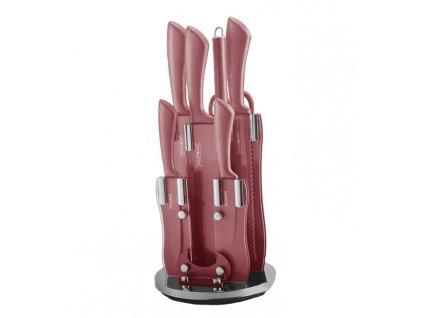 Súprava 5 nožov + ocieľka + nožnice v stojane Royalty Line RL-KSS8 | oceľové nože | oceľový nôž - červená