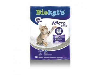 Hrudkující podestýlka pro kočky Biokats Micro Classic 14 l / POŠKOZENÝ OBAL