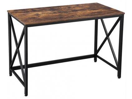 Dřevěný počítačový stůl 115 x 60 x 76 cm / hnědá / černá