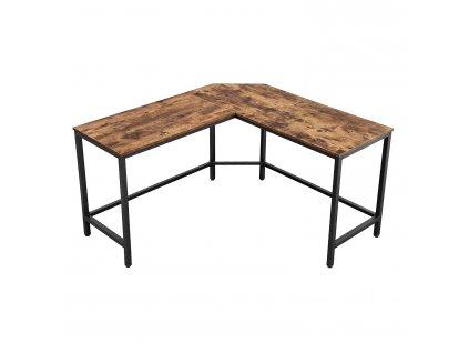 Počítačový stůl ve tvaru písmene L LWD71X / hnědá / černá